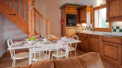 Kitchen & Dining Area in Genepi Apartment in Sainte Foy
