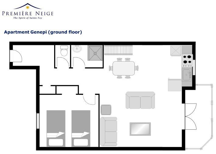 Genepi Apartment Ground level Floor Plan in Ste Foy
