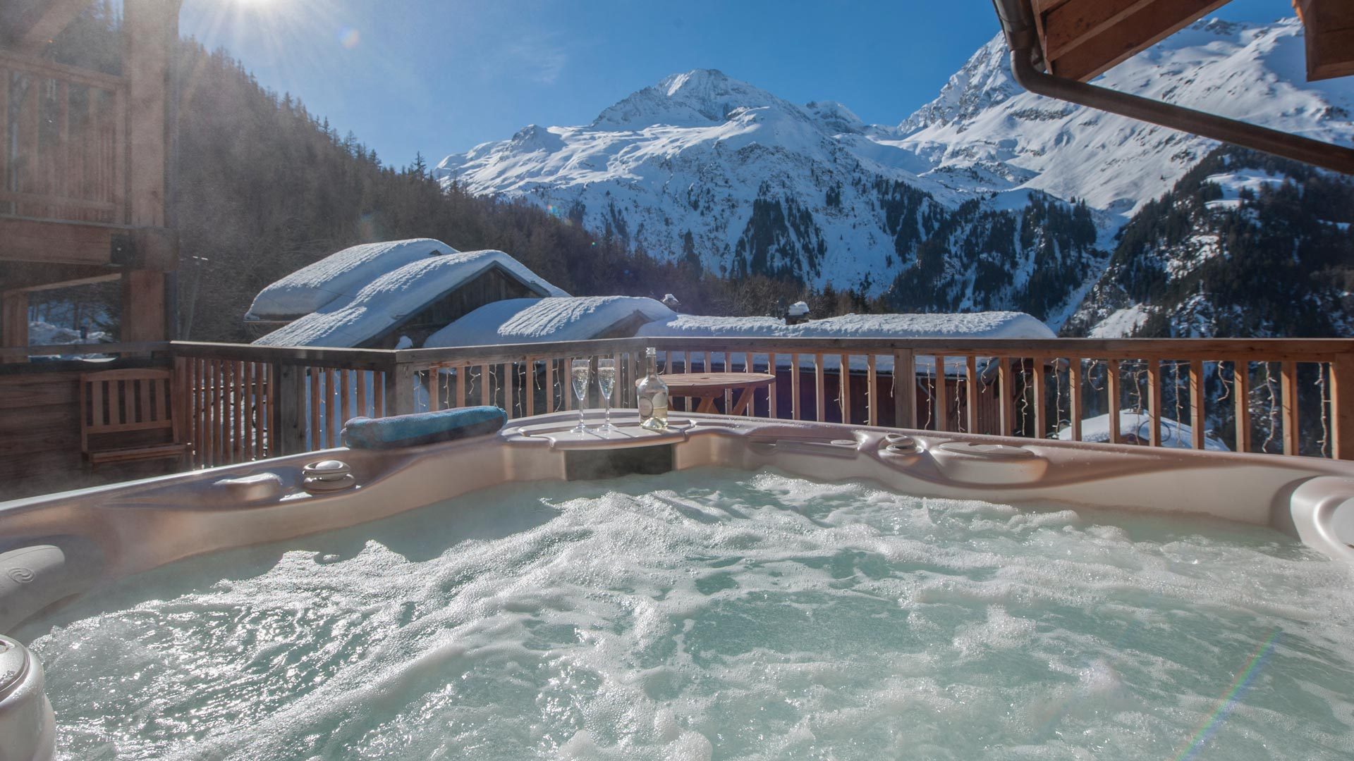 Hot Tub in Grand Solliet Chalet in Ste Foy