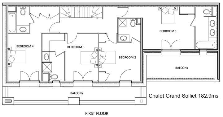 Grand Solliet Chalet First Level Floor Plan in Ste Foy
