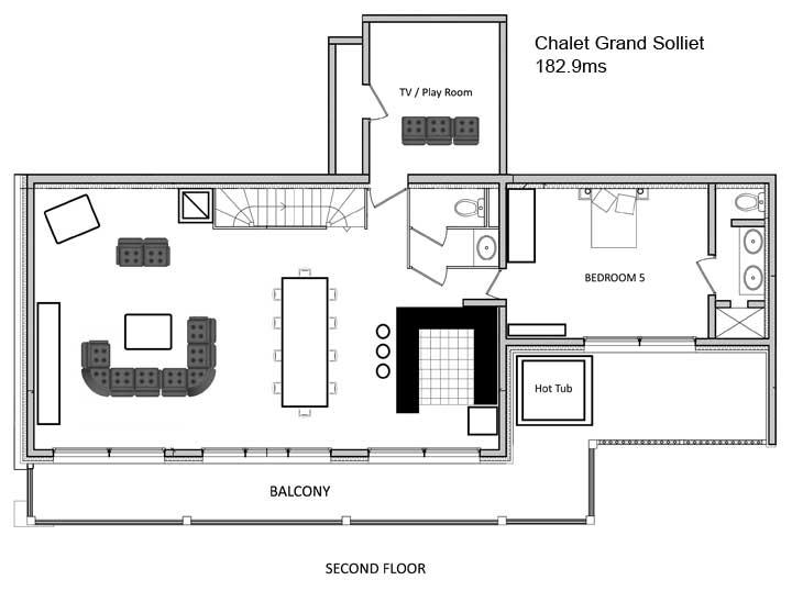 Grand Solliet Chalet Second Level Floor Plan in Ste Foy