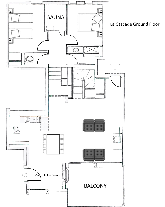 La Cascade Apartment Ground Level Floor Plan in Ste Foy