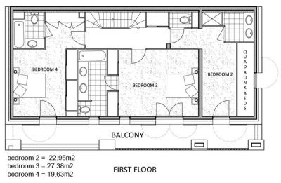 La Marquise Chalet First level Floor Plan in Ste Foy