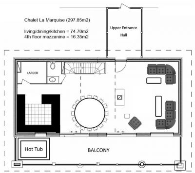 La Marquise Chalet Third level Floor Plan in Ste Foy