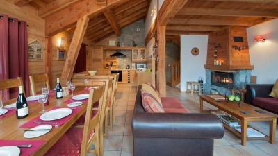 Living & Dining Area in Les Laurels Chalet in Ste Foy