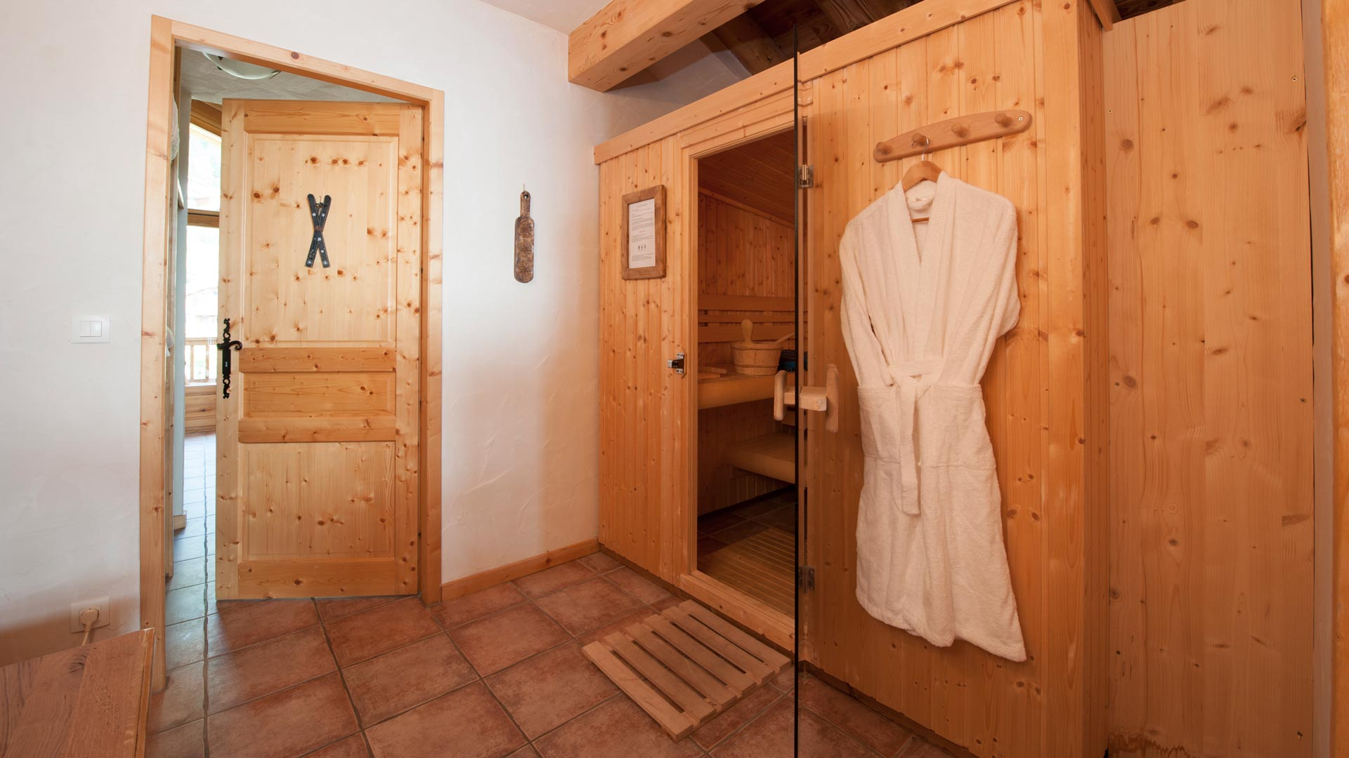 Sauna in Le Rocher Blanc Apartment in Ste Foy