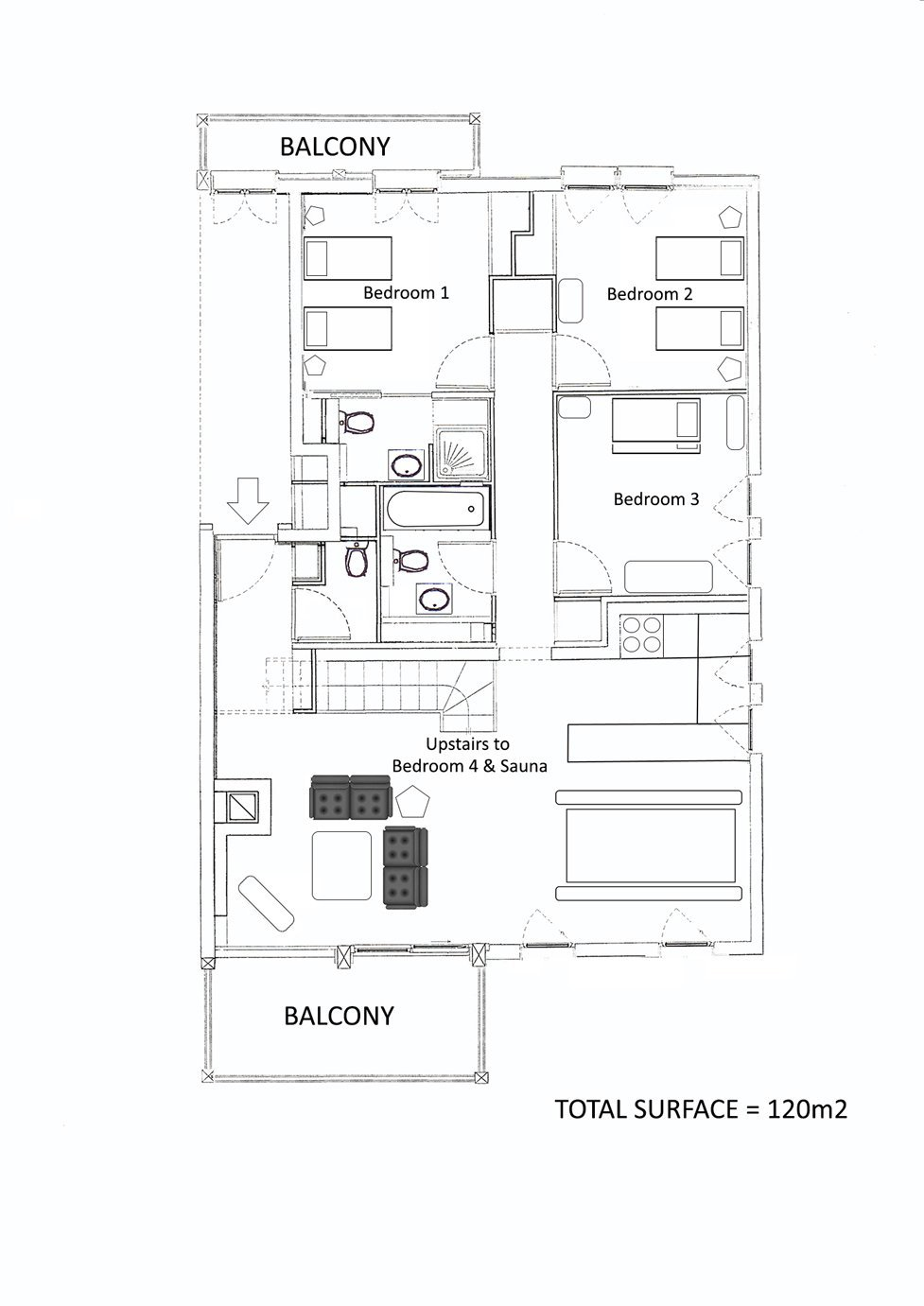 Le Rocher Blanc Apartment Floor Plan in Ste Foy