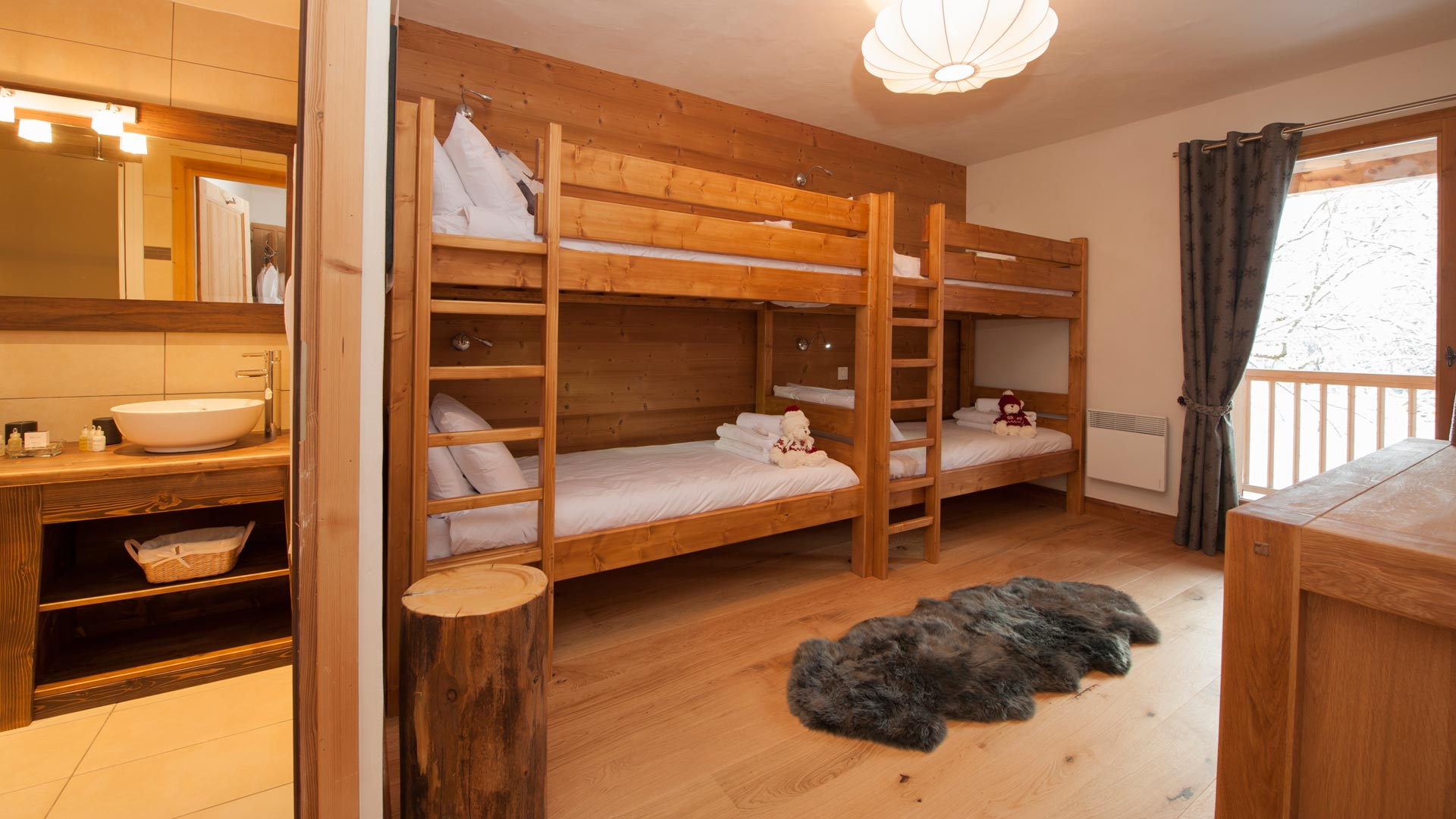 Quad Bunk Room in La Marquise Chalet in Ste Foy