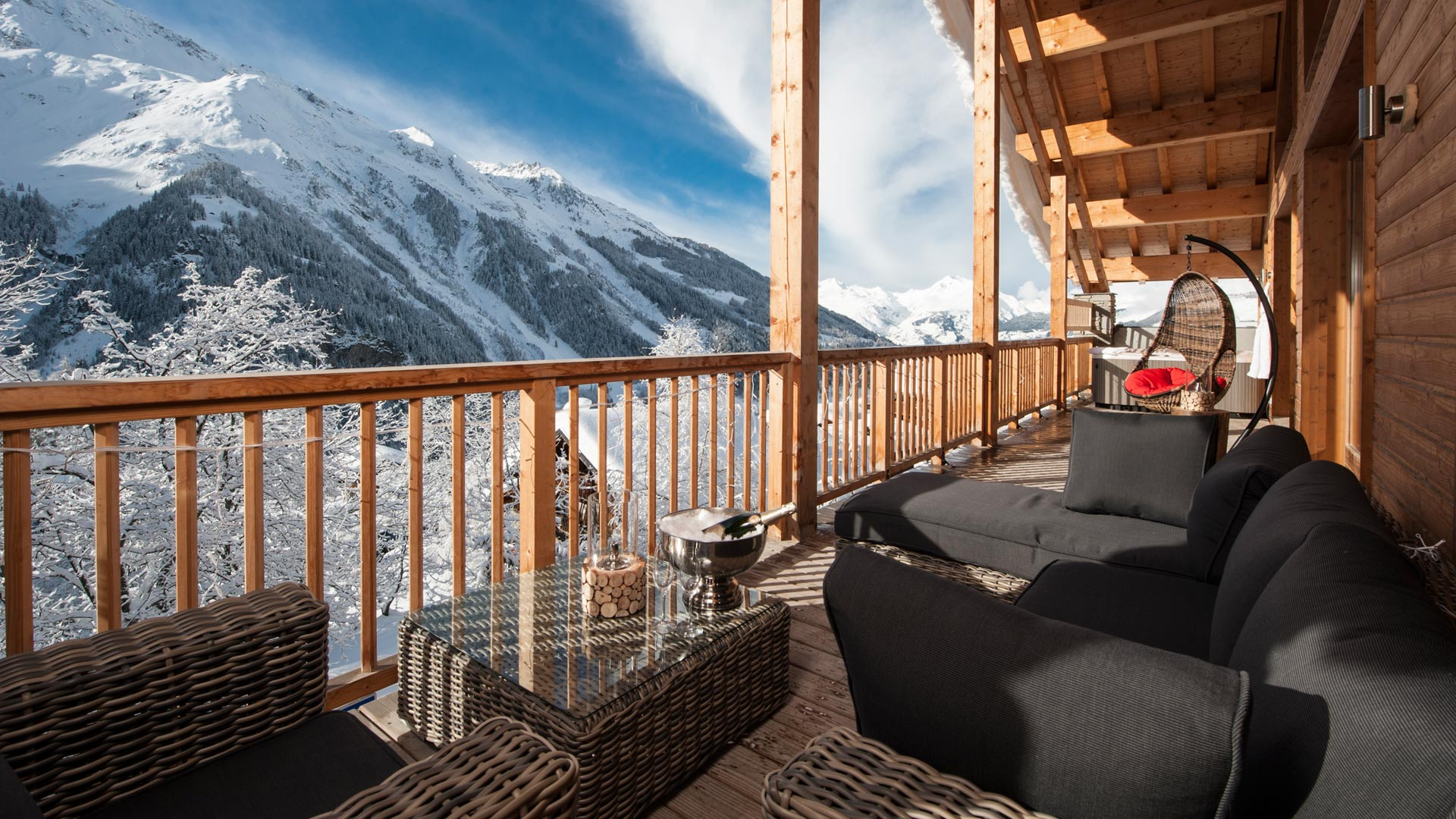 Seating Area on the Balcony in La Marquise Chalet in Ste Foy