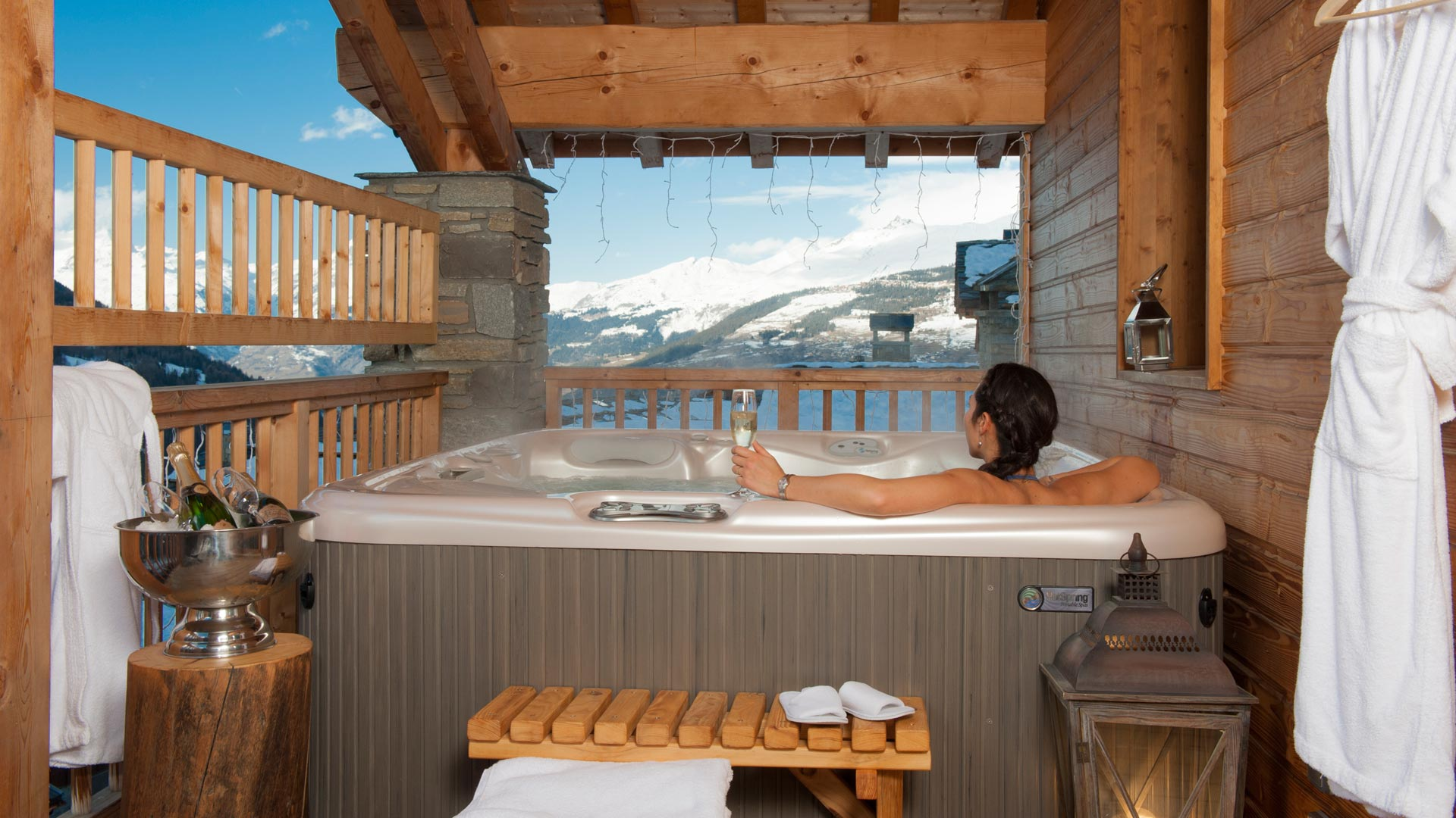 Hot Tub in La Marquise Chalet in Ste Foy
