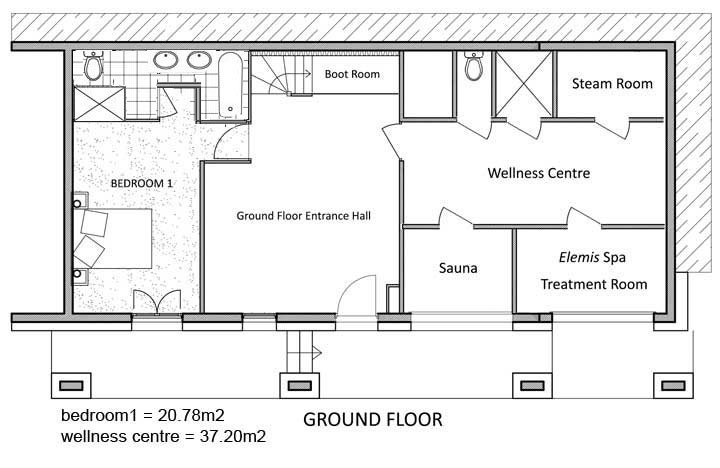 La Marquise Chalet Ground level Floor Plan in Ste Foy