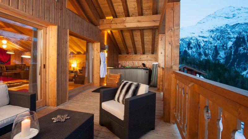 Balcony Hot Tub in The Peak Chalet in Ste Foy