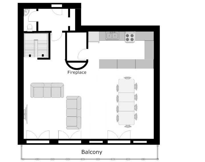 The North Face Chalet Ground Level Floor Plan in Ste Foy