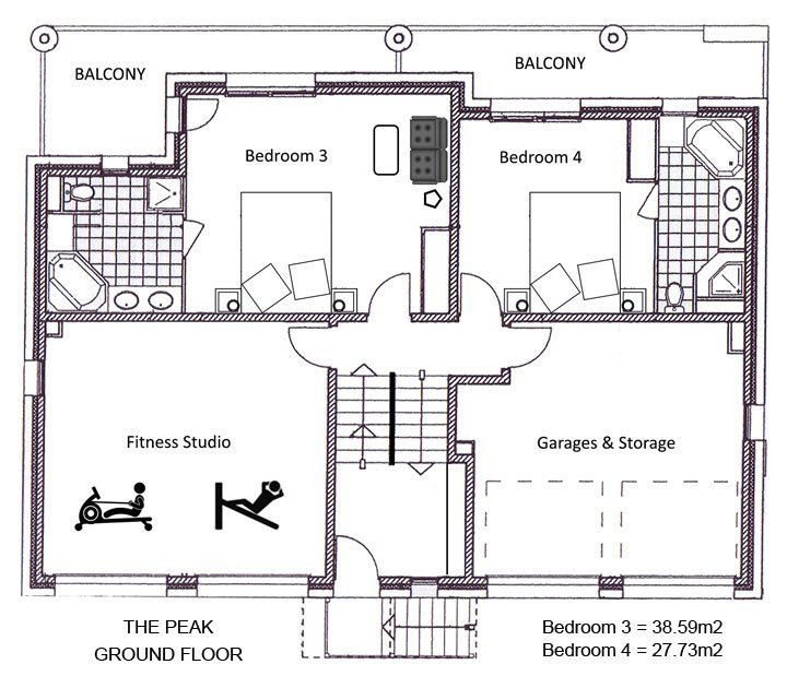 The Peak Chalet Ground Floor Plan in Ste Foy