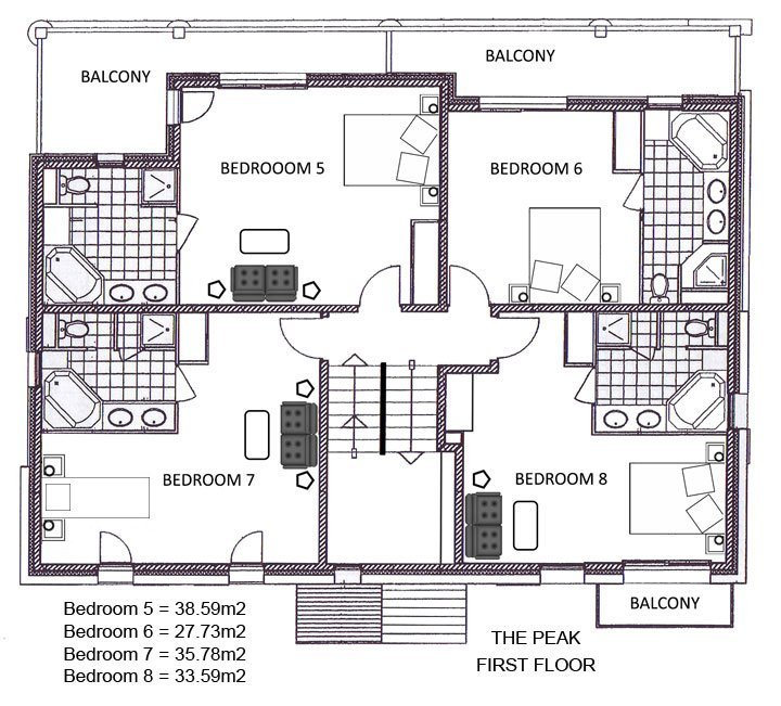 The Peak Chalet First Floor Plan in Ste Foy