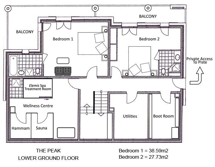 The Peak Chalet Lower Ground Floor Plan in Ste Foy