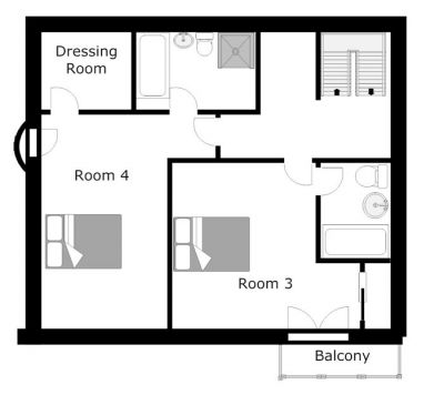 The South Face Chalet Second Level Floor Plan in Ste Foy