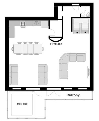 The South Face Chalet Ground Level Floor Plan in Ste Foy