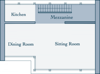 Merlo Chalet Mezzanine Level Floor Plan in Le Miroir, Ste Foy