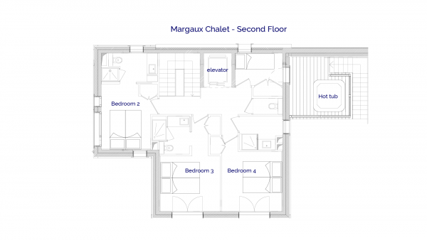 Margaux luxury self catered chalet in Sainte Foy, 2nd floor plans