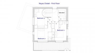 1stFloor plan of luxury self catered Rayas chalet in Sainte Foy