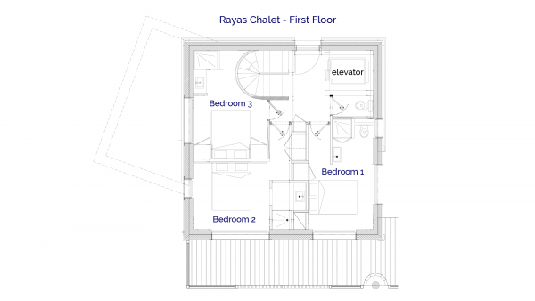1stFloor plan of luxury self catered Rayas chalet in Sainte Foy