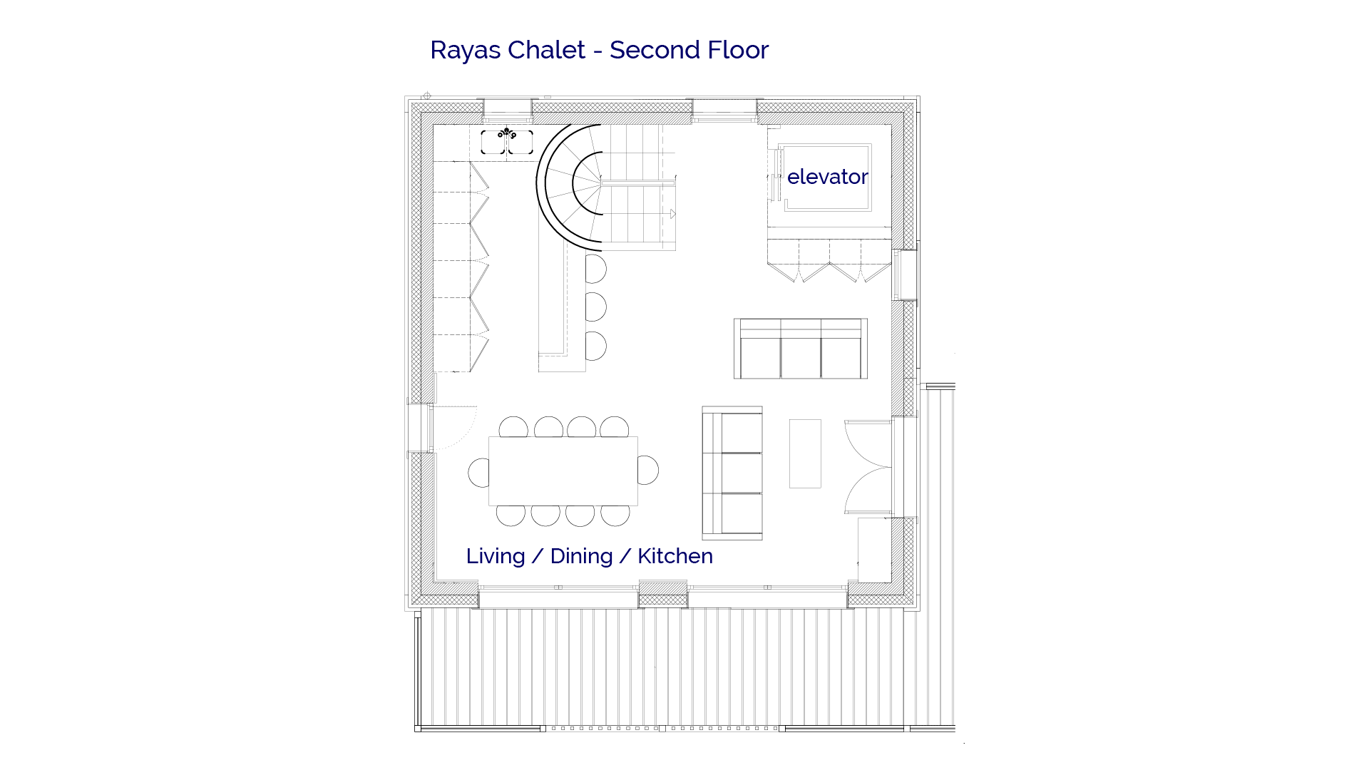 2nd Floor plan of luxury self catered Rayas chalet in Sainte Foy