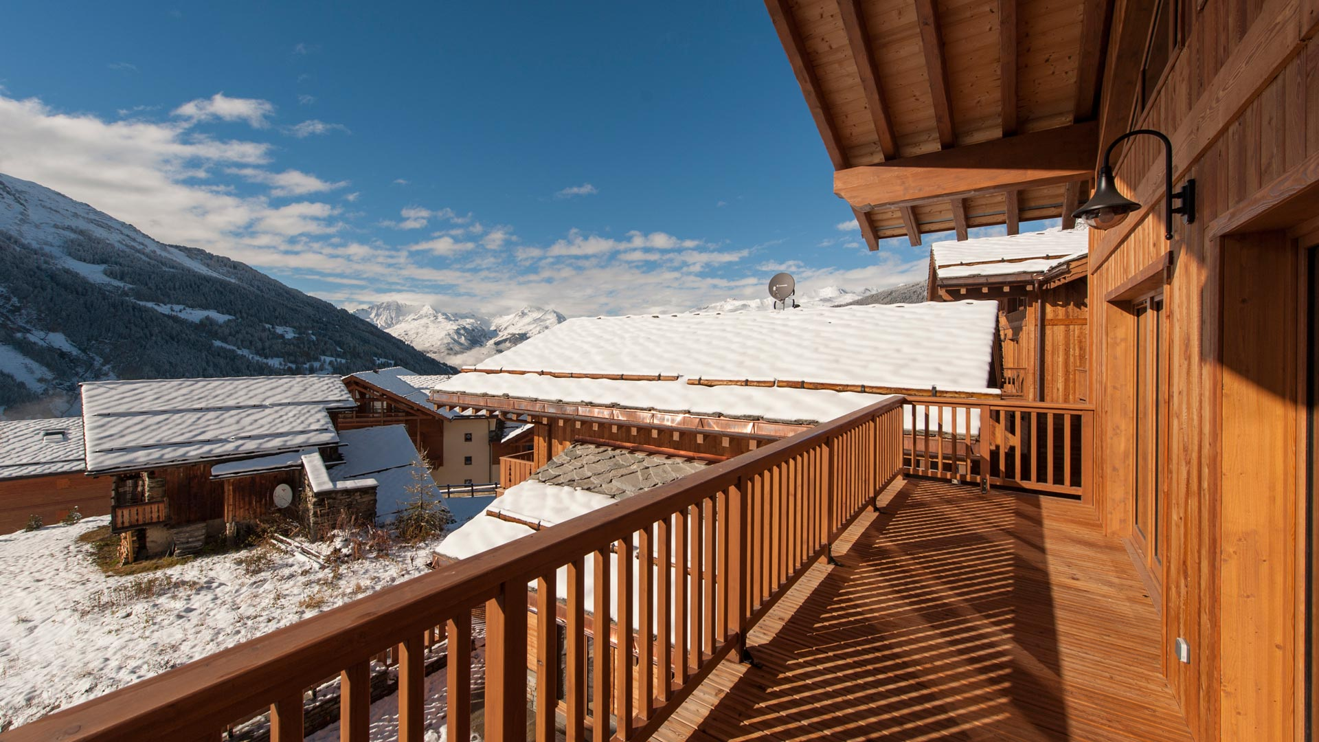 Main balcony, Haut Brion Luxury Self catered chalet in Sainte Foy