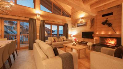 living room - luxury self catered chalet Haut Brion in Sainte Foy