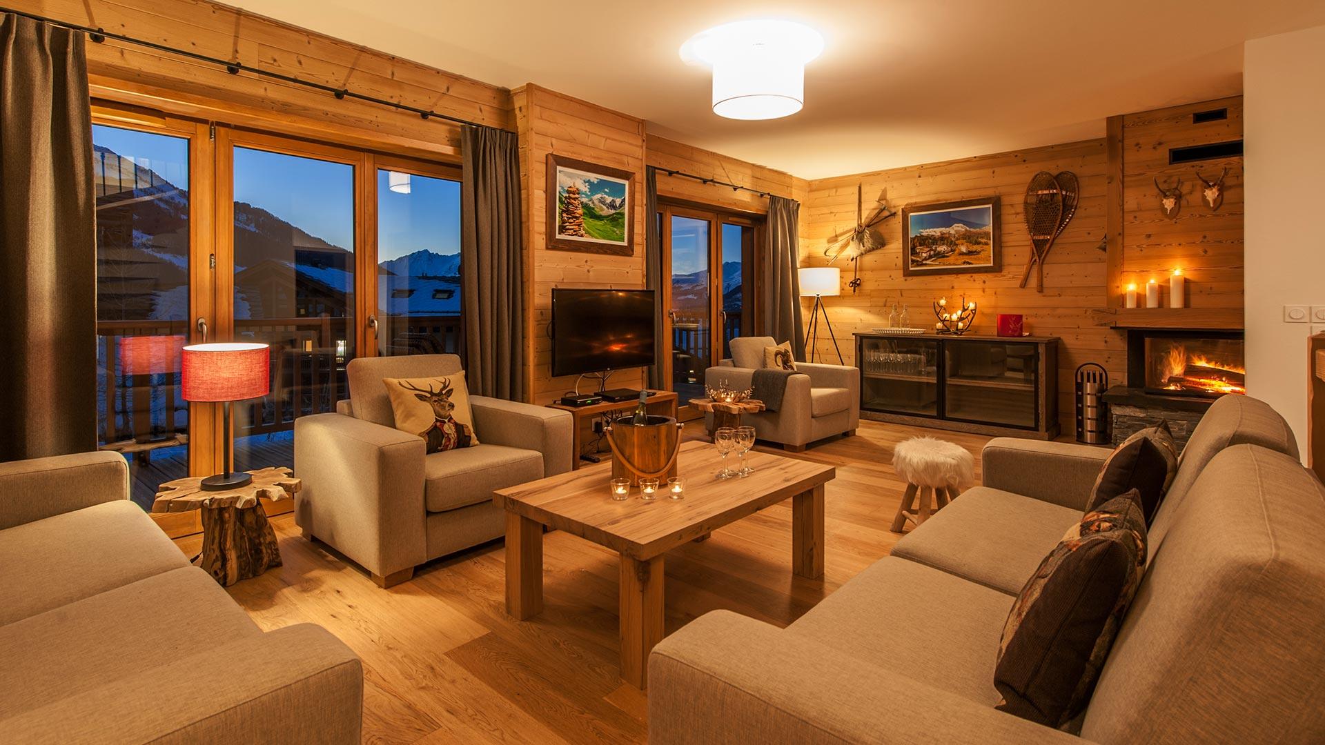 Living area - Luxury self catered Estournel Chalet, Les Hauts du Monal, Sainte Foy