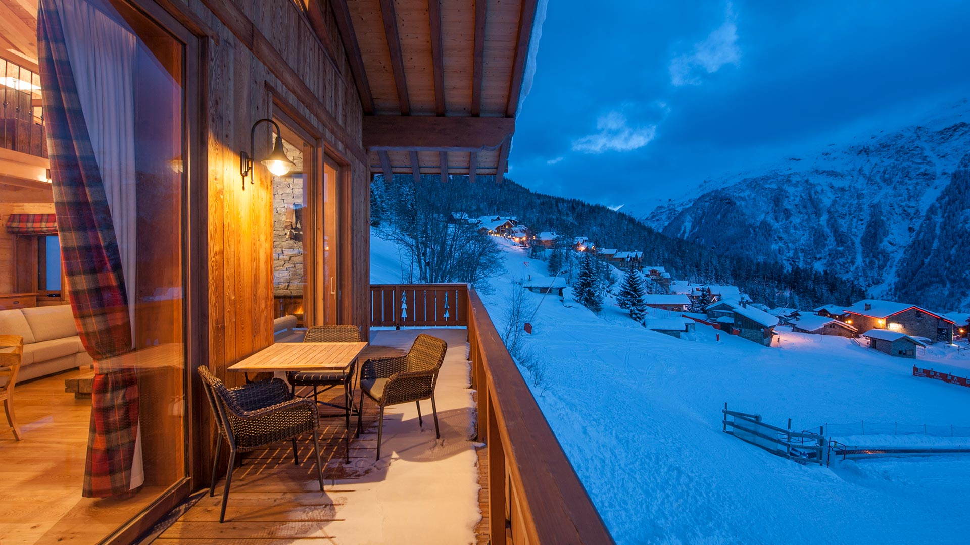 The Rayas Chalet balcony overlooking Sainte Foy.